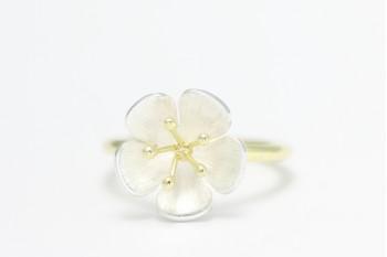 Blütenring - Silber mit Gelbgold