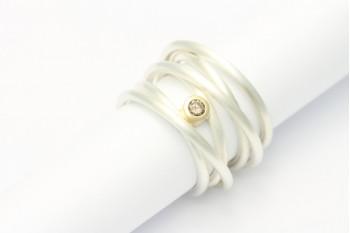 Wickelring - Silber mit Roségold und Brillant