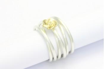 Wickelring Silber mit Blüte aus Gelbgold
