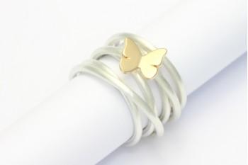 Wickelring Silber mit Schmetterling aus Roségold