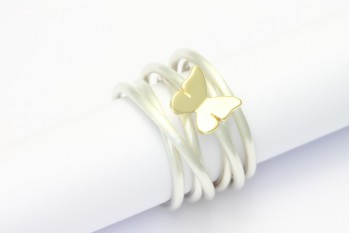 Wickelring Silber mit Schmetterling aus Gelbgold